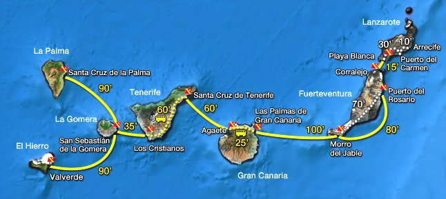 map canaries ferry route